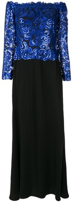 Tadashi Shoji Sequin-Embellished Off-The-Shoulder Dress