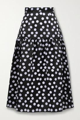 Carolina Herrera Tiered Polka-dot Silk Midi Skirt - Black