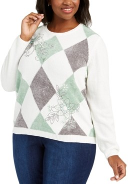 Alfred Dunner Plus Size Lake Geneva Diamond Chenille Sweater