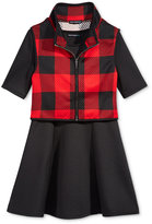 Sequin Hearts 2-Pc. Checked Vest & Dress Set, Big Girls (7-16)