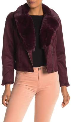Catherine Malandrino Faux Fur Trimmed Faux Suede Moto Jacket