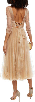 Maria Lucia Hohan Leila Embellished Pleated Tulle Midi Dress