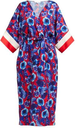 Borgo de Nor Raquel Floral-print Tie-waist Dress - Womens - Red Multi