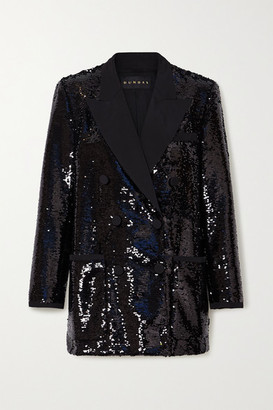 Dundas Double-breasted Sequined Twill Blazer - Black