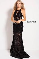 Jovani 54986 Sequined Lace Illusion Halter Sheath Dress