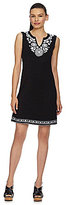 Chelsea & Theodore Splitneck Embroidered Dress