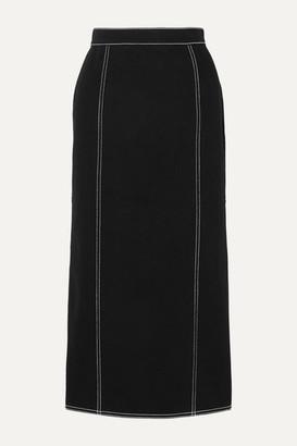 Alexander McQueen Pleated Denim Midi Skirt - Black