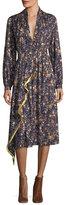ADAM by Adam Lippes Printed Long-Sleeve Silk Dress
