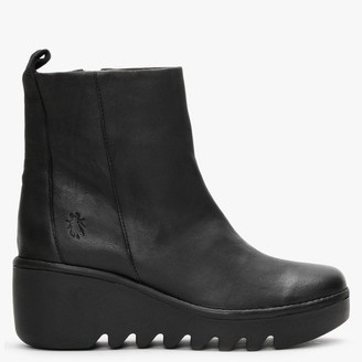 Fly London Bale Black Leather Wedge Ankle Boots
