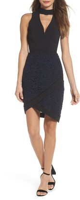 Adelyn Rae Sasha Mock Neck Sheath Dress