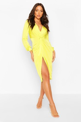 boohoo Disco Slinky Twist Front Wrap Dress
