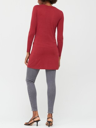 Very Soft Touch Twist Detail Tunic - Red