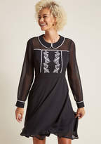 Collared Long Sleeve Dress with Trim in 4X - Fit & Flare Mini by ModCloth
