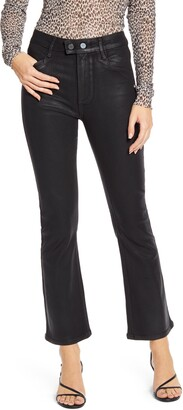 Paige Transcend - Claudine Coated Double Button High Waist Ankle Flare Jeans