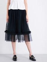 Simone Rocha Feather-embellished smocked tulle midi skirt