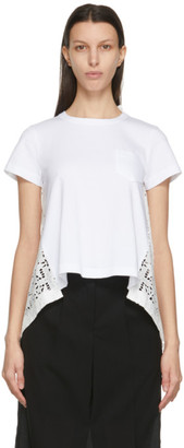 Sacai White Lace Star Drape T-Shirt