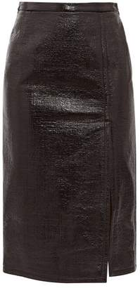 No.21 No. 21 - Front Slit Pvc Coated Skirt - Womens - Black