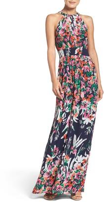 Eliza J Floral Print Chiffon Halter Maxi Dress