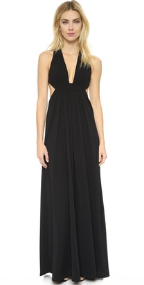 Jill Stuart Jill Women's Plunging Neck Side Cutout 2-Ply Crepe Gown