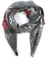 Daniel Luxe Stripe Black Cotton Mix Leopard Scarf