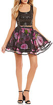 B. Darlin Sequin Top with Floral Mesh Skirt Two-Piece Dress