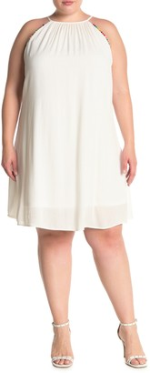 Vanity Room Pompom Sleeveless Swing Dress (Plus Size)
