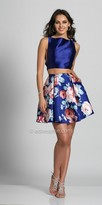Dave and Johnny Two Piece Rose Print Homecoming Dress with Side Pockets