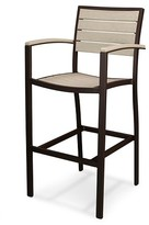 Polywood Euro Bar Height Patio Dining Arm Chair - Bronze Frame