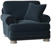 Bernhardt Foster Armchair Body Fabric: 2909-043, Throw Pillow Fabric: 1029-010, Leg Color: Antique White, Nailhead Detail: Nickel