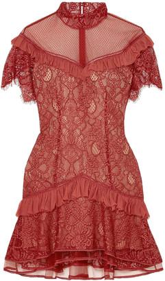 Jonathan Simkhai Mesh-paneled Ruffled Lace Mini Dress