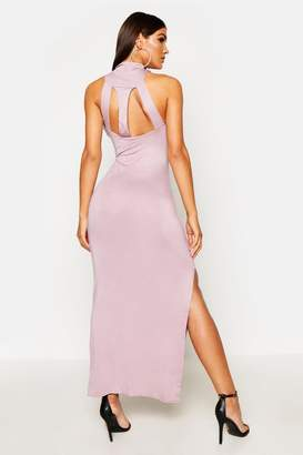 boohoo Turtle Neck Cut Out Back Detail Maxi Dress