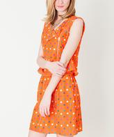 Orange Polka Dot Sleeveless Tie-Waist Dress