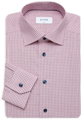 Eton Slim-Fit Plaid Dress Shirt With Piping Detail