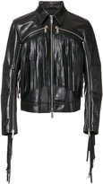 DSQUARED2 zip detail fringed jacket