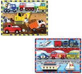 Melissa & Doug Vehicles & Construction Chunky Puzzle Bundle