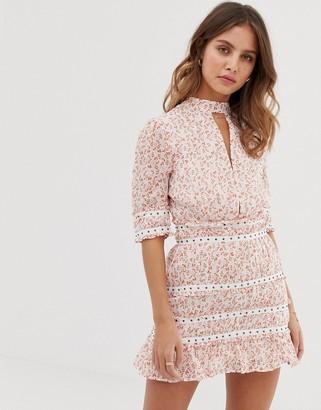 Stevie May Byrdie mini dress in ditsy floral print-Pink
