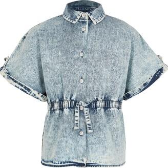 River Island Girls Blue drawstring waist denim shirt