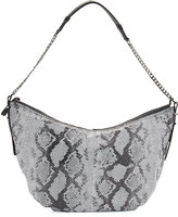Halston Snakeskin-Embossed Leather Hobo Bag, Black Multi