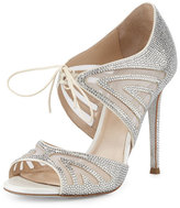 Rene Caovilla Crystal-Embellished Two-Piece 105mm Pump, White