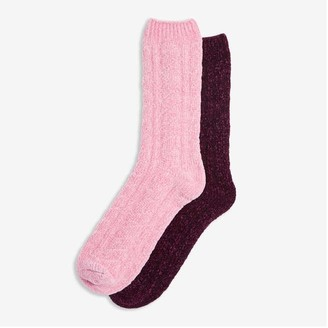 Joe Fresh Women's 2 Pack Cable Knit Socks, Pink (Size O/S)