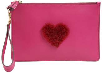 Anya Hindmarch MINI SHEARLING HEART LEATHER POUCH