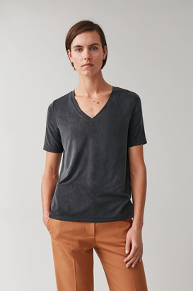 Cos Cupro V-Neck T-Shirt
