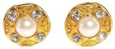 Chanel Gold Tone Hardware Faux Pearl Crystal Clip On Earrings