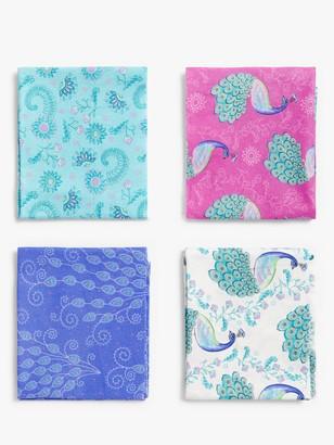Visage Textiles Elegant Peacock Print Fat Quarter Fabrics, Pack of 4, Multi