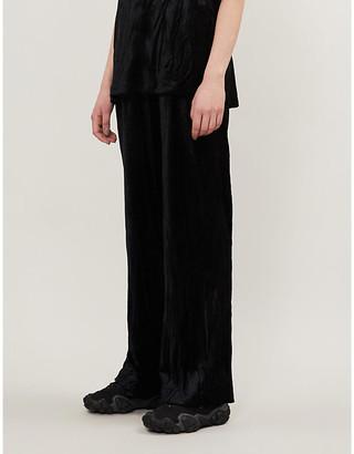 Ninety Percent Wide-leg velour trousers