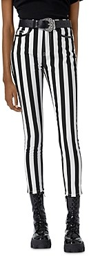 The Kooples Black And White Striped Slim Fit Jeans