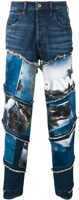 G Star Raw Research landscapes print jeans