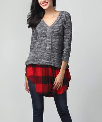Melange Home Reborn Collection Women's Tunics Charcoal - Charcoal & Red Plaid-Hem Tunic - Women