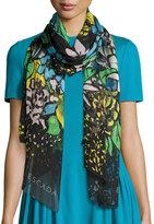 Escada Aquarelle-Print Silk Oblong Scarf, Fantasy