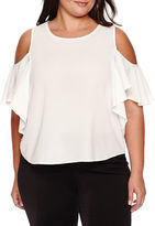 BELLE + SKY Short-Sleeve Mixed Media Ruffled Cold-Shoulder Top